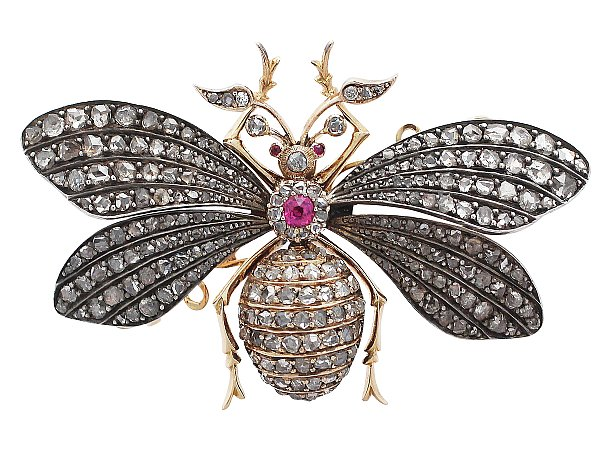 3.11 ct Diamond and Synthetic Ruby, 15 ct Yellow Gold Insect Brooch - Antique Victorian