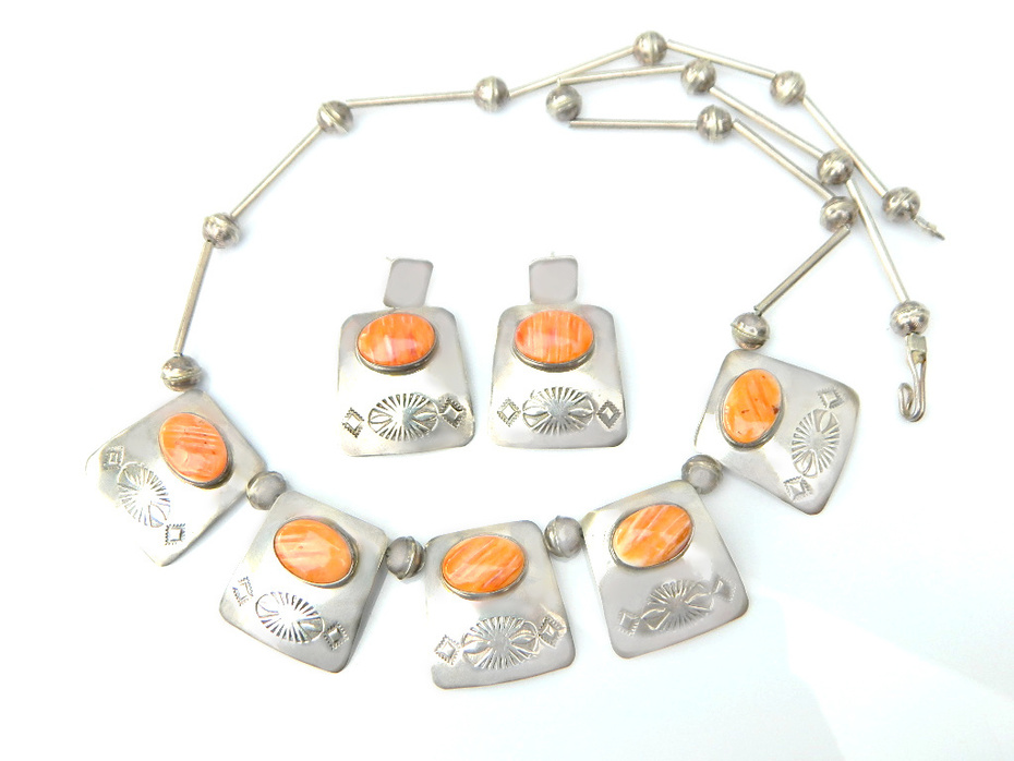Navajo Begay Signed Necklace And Earring Set Orange Spiny Oyster And Sterling Silver 1930's