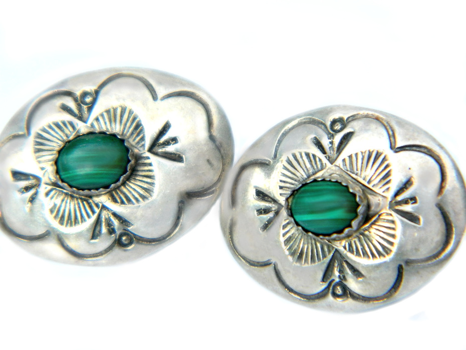 Navajo Sterling Silver And Malachite Earrings Signed LS Larry Sandoval