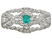 1.98 ct Emerald and 5.22 ct Diamond, Platinum Brooch - Art Deco - Antique Circa 1930