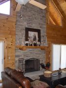 Two Level Stacked Stone Fire Place