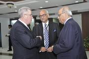 General John P Abizaid with Vikram Sood, Former Head of India's Foreign Intelligence Agency, the Research & Analysis Wing