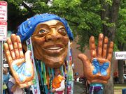 Brother Blue puppet at riverfest