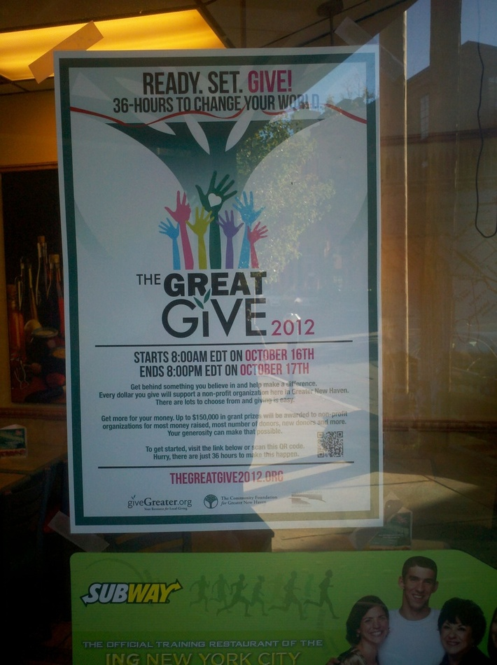 Subway on Whitney Ave. helping The 2012 Great Give