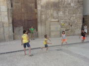 boys playing in town of Requena, Valencia, Spain