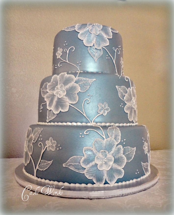 Ice Blue Wedding with Brushed Embroidery