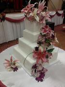 pinklilliespurpleorchid4tierweddingcake