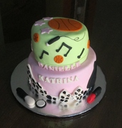 Topsy turvy Birthday cake for two sisters