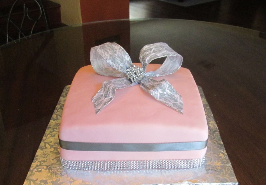 Pink and Silver Birthday Cake