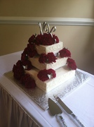 Square Wedding cake with fresh carnations