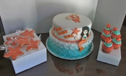 Under the Sea Theme Baby Shower Cake,Star Fish cookies and cupcakes