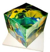 Photo cube bday cake