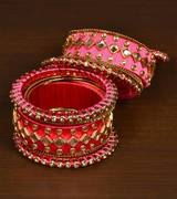 Exclusive Beaded Pink Bangles at Best Price