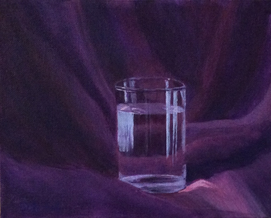 Water Glass on Purple Fabric