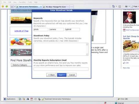 How to import eBay store & fixed price listings in your FaceBook profile using Netcarnation
