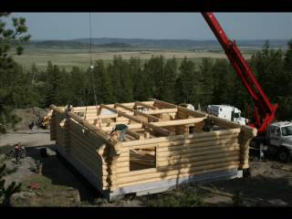 Avalon Log Home Log Home Raising Montana NM Sequence 158