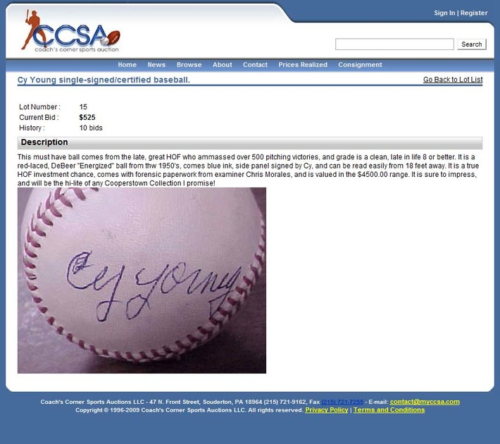 Coach's Corner Chris Morales Authenticated Lot 015 Cy Young