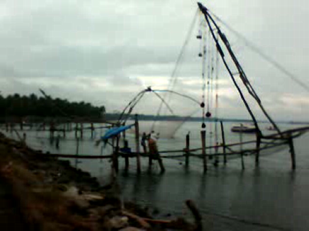 Chinese fishing net in action