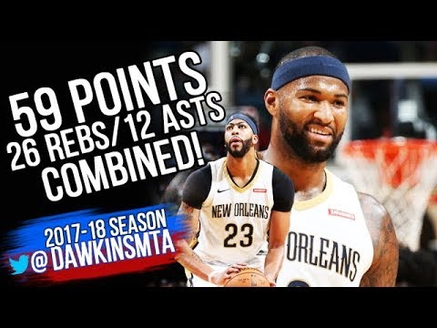 DeMarcus Cousins & Anthony Davis 59 Pts, 26 Rebs, 12 Ast Combined 2017.10.28 vs Cavs!