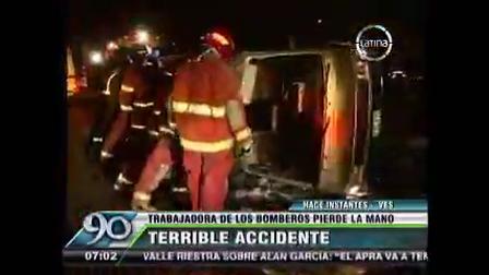 ENERO 2014 - ACCIDENTE AL VOLCAR VEHÍCULO DE BOMBEROS EN PERÚ