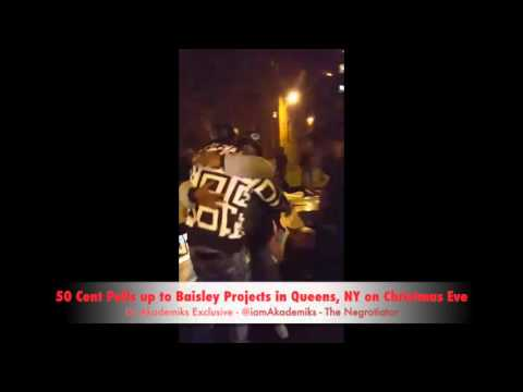 Stunt 101 : @50Cent Pulls up to Baisley Projects in Queens, NY on Christmas Eve driving a Drop Top Rolls Royce!