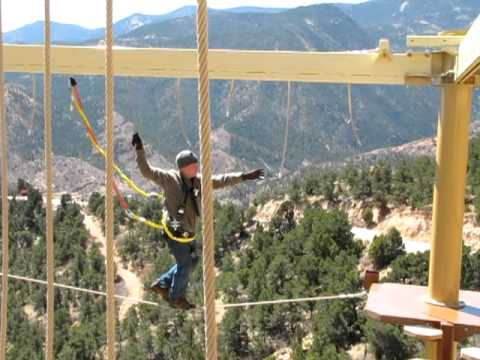 Cave of the Winds supervisor Don Weeks on the Windwalker ropes course