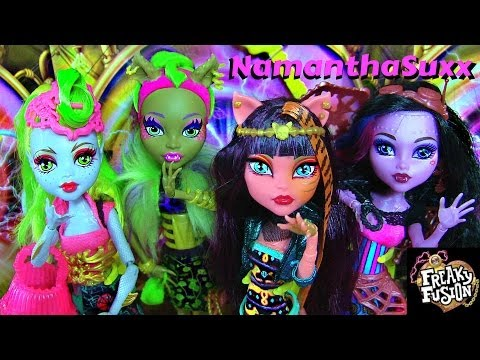 MONSTER HIGH FREAKY FUSION LAGOONAFIRE CLAWVENUS CLEOLEI DRACUBECCA DOLL REVIEW VIDEO!!