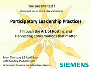 Participatory Leadership Practices - through the art of hosting and harvesting conversations that matter