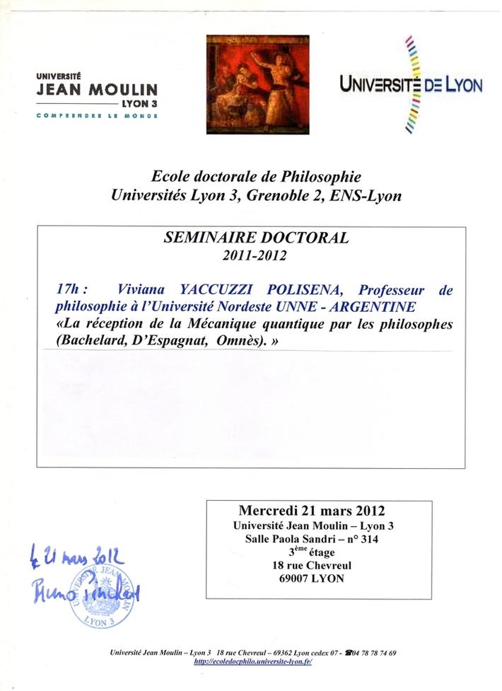 UNIVERSITÉ JEAN MOULIN. ECOLE DOCTORALE DE PHILOSOPHIE. LYON 3 - FRANCE. 2012