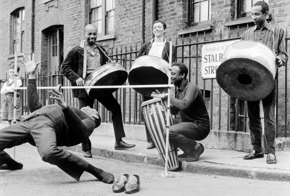 Street limbo … The Irwin Clement Caribbean steel band in London, 1963. Photograph