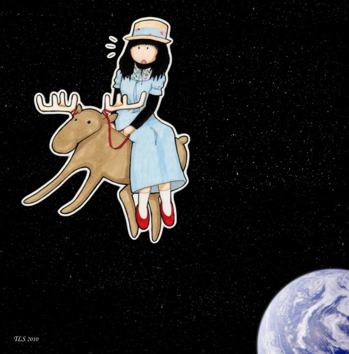 Haruka på en älg i rymden