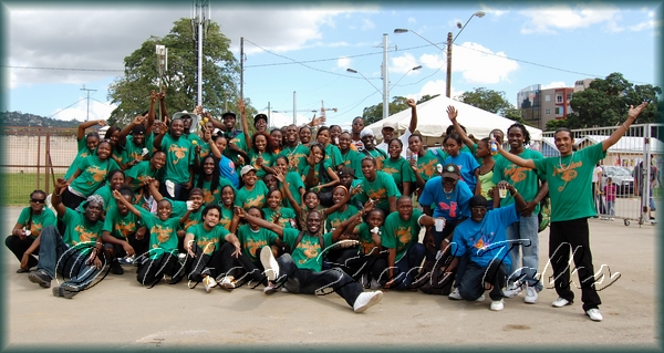 Members of Couva Joylanders Steel Orchestra after their 2008 Trinidad Panorama semi-final performance at the Queen's Park Savannah - January 27, 2008