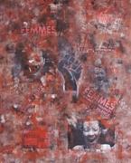 Série Violences faite aux femmes tableau BRISER LE SILENCE  100x80 technique mixte.
