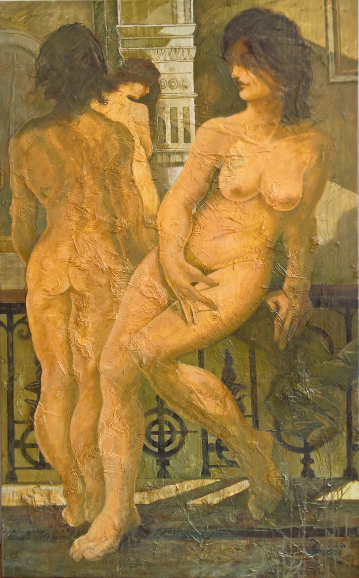 3 graces par Leonard PERVIZI. 160x100cm huile visite expo. 13-18 fev.2018 Grand Palais Paris Art en Capital