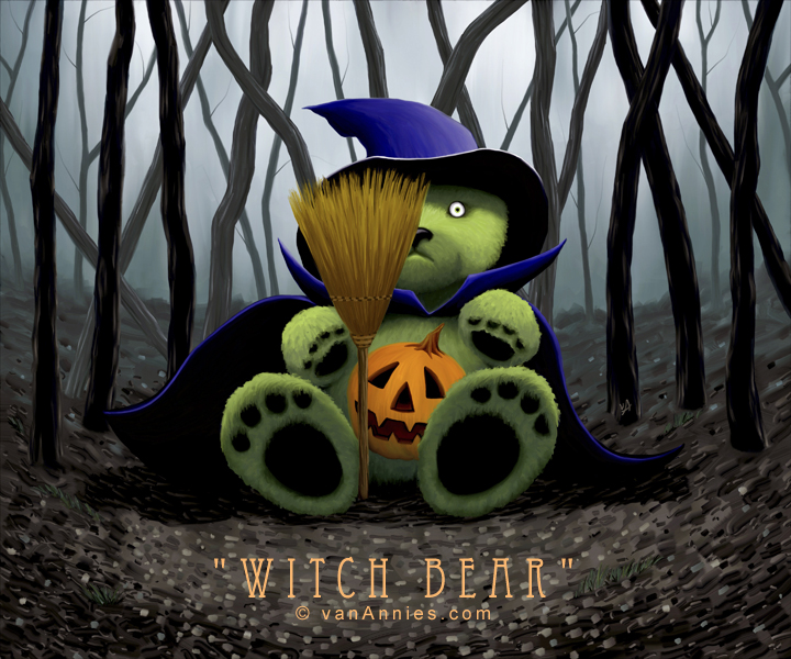 Teddy Bear Witch in a Dark Spooky Forest