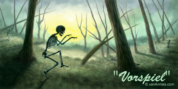 Creeping Skeleton in Spooky Green Forest