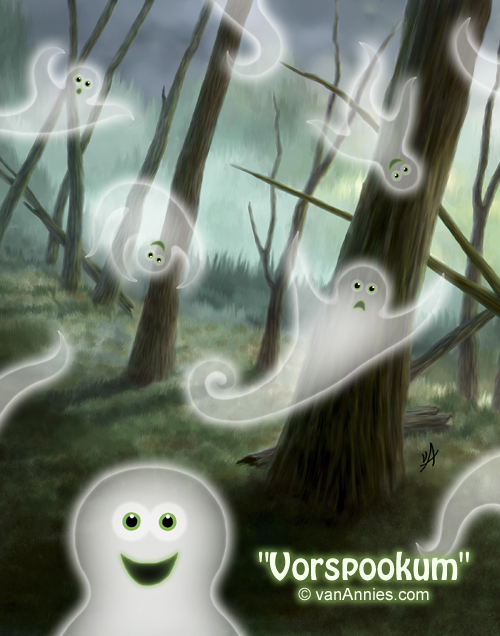 Happy Ghosts in a Spooky Green Forest