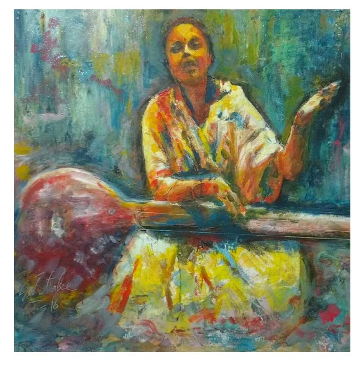 Swarakash,Encaustic painting using cold wax on canvas board.size 30x30 inches.