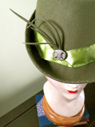 Olive Green Fedora with Edwardian Button