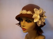 Brown Cloche w /Handmade Flower & Dragon Fly