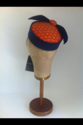 Orange Silk & Navy Fur Felt Pillbox by Murley & Co Millinery