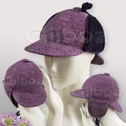 Ladies | Womens Purple Tweed & Velvet Deerstalker