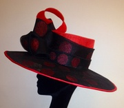 Red & Black Spotted Sinamay Hat