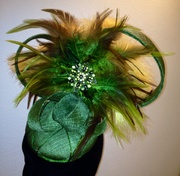 Green Feathered Sinamay Fascinator
