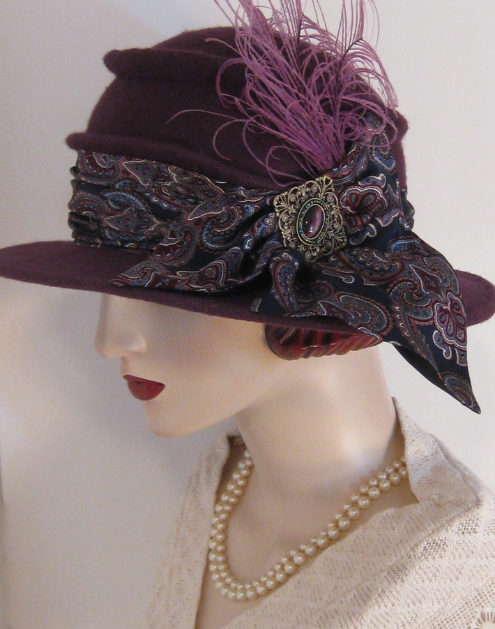 Plum Cloche with Paisley Scarf