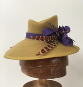 mustard percher with purple flowers