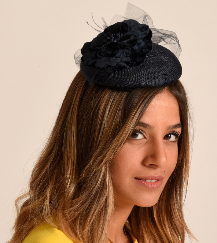 Navy cocktail hat