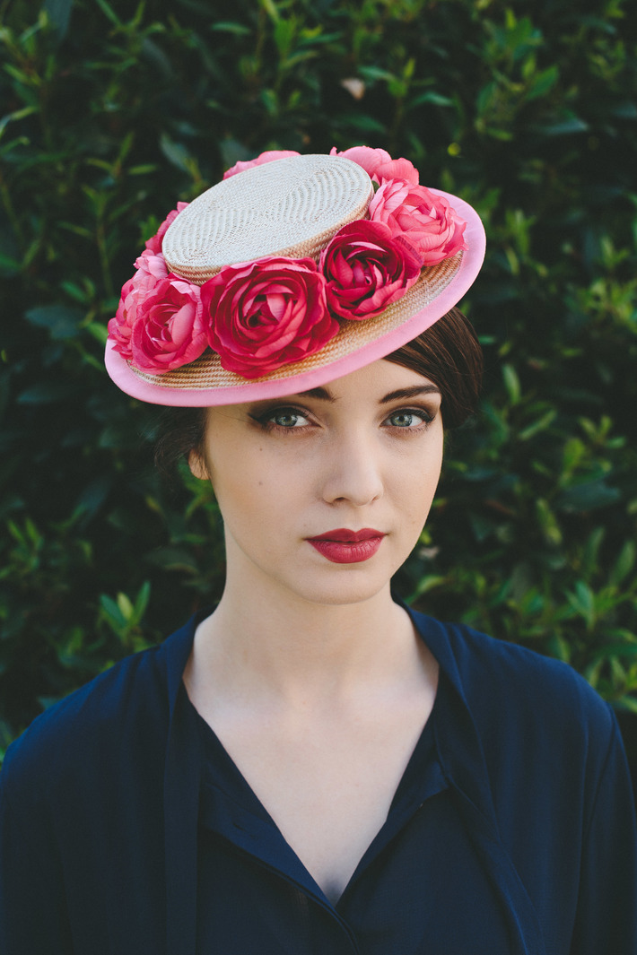 Natural Straw Boater with Pink Flowers