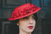 Red Paper Straw Boater with Velvet Orchid Flowers
