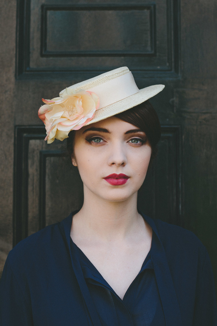 Cream Paper Straw Boater with Organza Flower